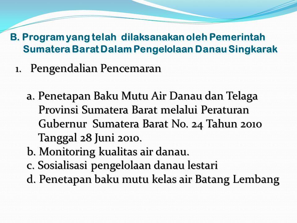 B. Program yang telah dilaksanakan oleh Pemerintah Sumatera Barat Dalam Pengelolaan Danau Singkarak 1. Pengendalian Pencemaran a. Penetapan Baku Mutu
