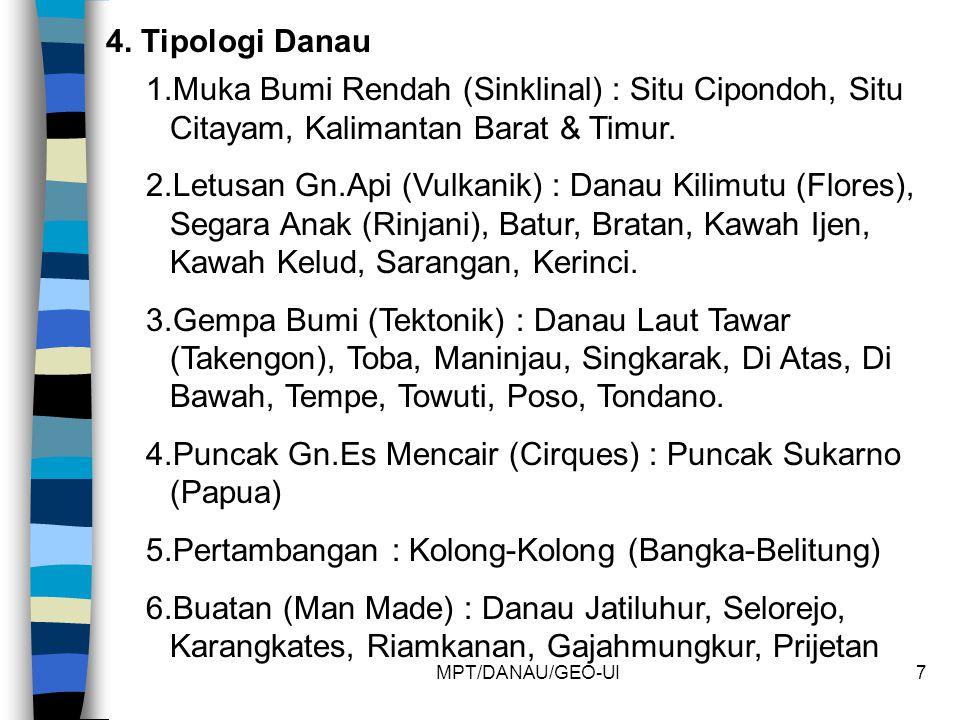 MPT/DANAU/GEO-UI7 4. Tipologi Danau 1.Muka Bumi Rendah (Sinklinal) : Situ Cipondoh, Situ Citayam, Kalimantan Barat & Timur. 2.Letusan Gn.Api (Vulkanik
