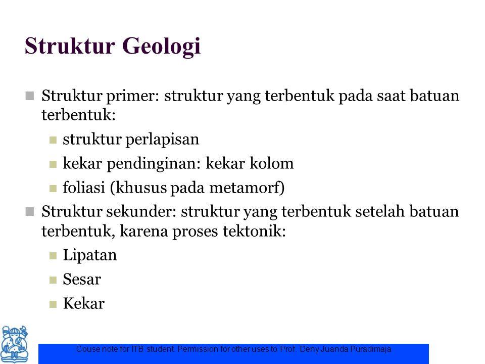 Struktur Geologi Struktur primer: struktur yang terbentuk pada saat batuan terbentuk: struktur perlapisan kekar pendinginan: kekar kolom foliasi (khus