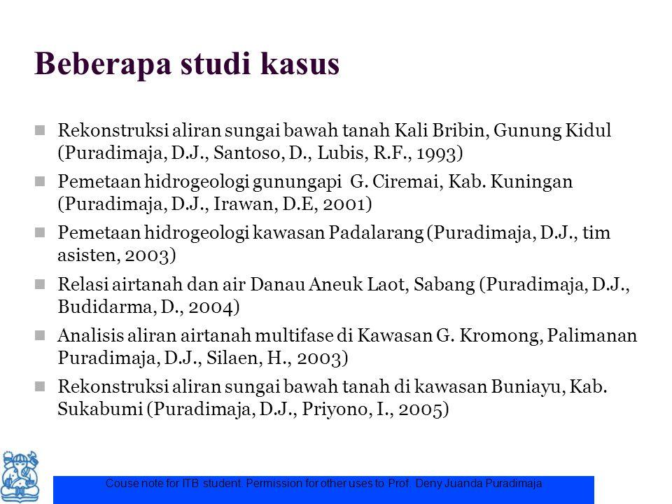 Beberapa studi kasus Rekonstruksi aliran sungai bawah tanah Kali Bribin, Gunung Kidul (Puradimaja, D.J., Santoso, D., Lubis, R.F., 1993) Pemetaan hidr