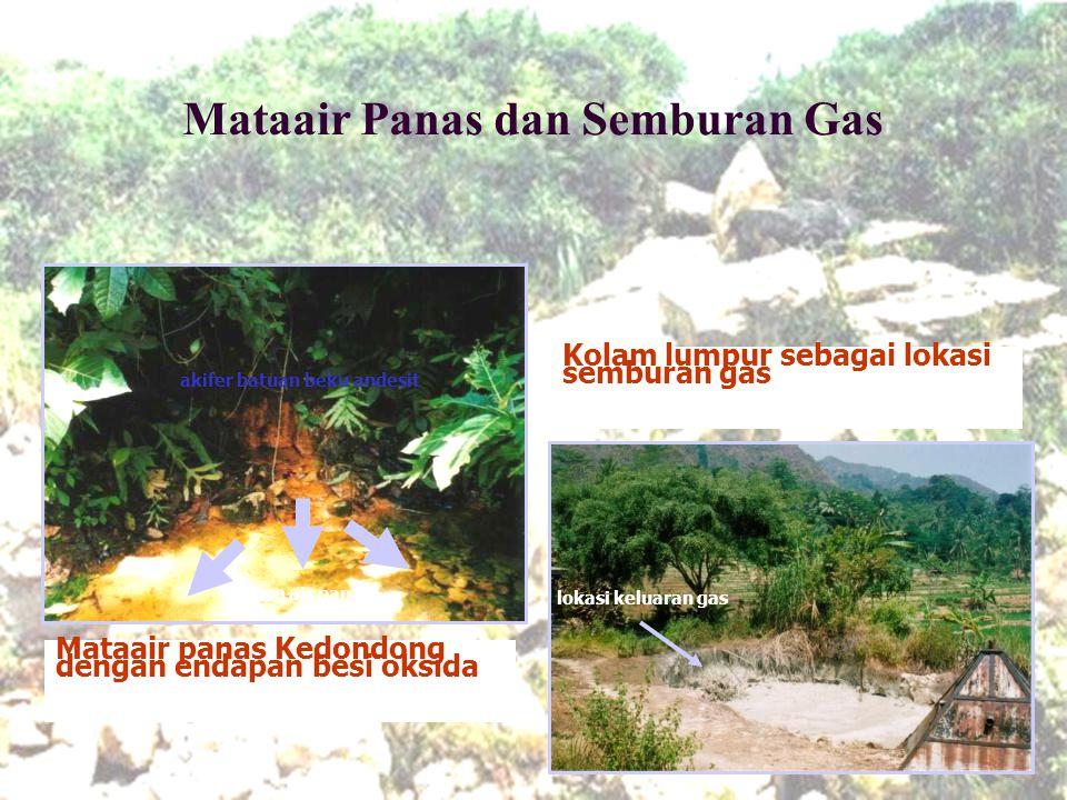 Mataair Panas dan Semburan Gas aliran air panas Mataair panas Kedondong dengan endapan besi oksida Kolam lumpur sebagai lokasi semburan gas akifer bat
