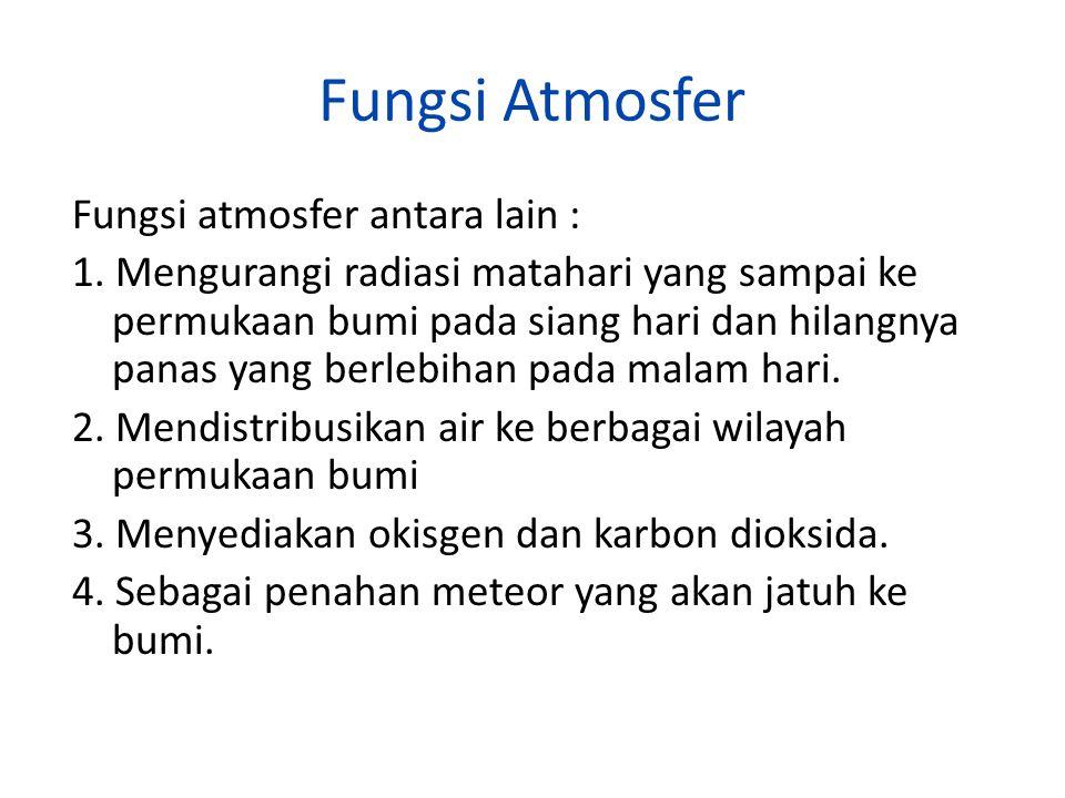Fungsi Atmosfer Fungsi atmosfer antara lain : 1. Mengurangi radiasi matahari yang sampai ke permukaan bumi pada siang hari dan hilangnya panas yang be