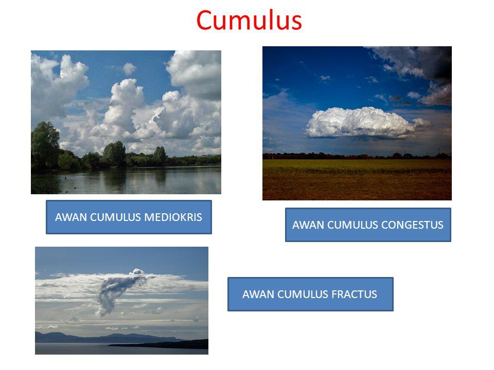 Cumulus AWAN CUMULUS FRACTUS AWAN CUMULUS CONGESTUS AWAN CUMULUS MEDIOKRIS