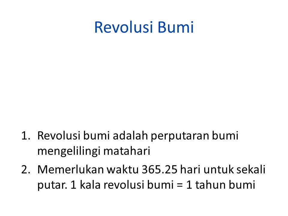 Revolusi Bumi 1.Revolusi bumi adalah perputaran bumi mengelilingi matahari 2.Memerlukan waktu 365.25 hari untuk sekali putar. 1 kala revolusi bumi = 1