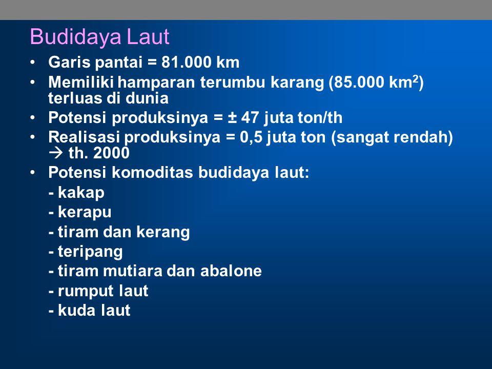 Budidaya Tawar 1.Perairan umum (danau, waduk, sungai, rawa) luas: 13,7 juta ha potensi: 900.000 ton/th nilai: US $ 1 milyar 2.Kolam air tawar luas lahan: 375.800 ha produksi: 805.700 ton/th 3.