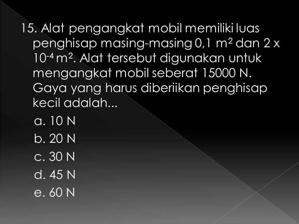 15. Alat pengangkat mobil memiliki luas penghisap masing-masing 0,1 m 2 dan 2 x 10 -4 m 2. Alat tersebut digunakan untuk mengangkat mobil seberat 1500