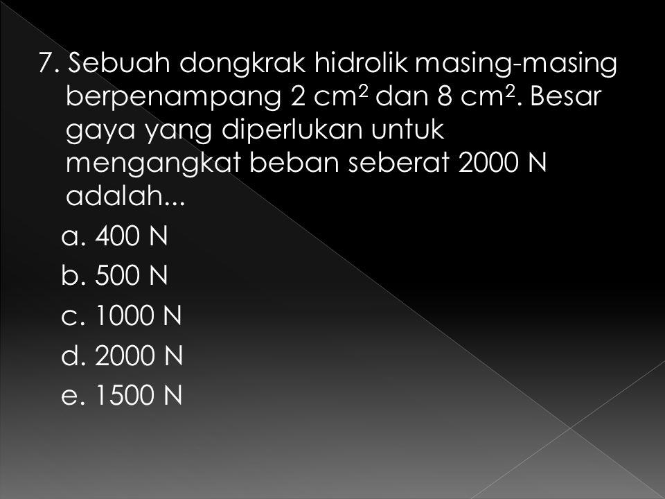 7. Sebuah dongkrak hidrolik masing-masing berpenampang 2 cm 2 dan 8 cm 2. Besar gaya yang diperlukan untuk mengangkat beban seberat 2000 N adalah... a
