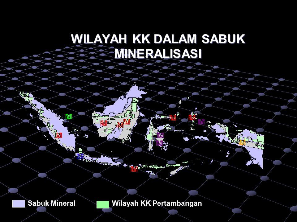 Sabuk MineralWilayah KK Wilayah KK yang tak dapat dieksplorasi Papua: 68% Nusa Tenggara: 43% Maluku: 7% Kalimantan: 19% Sulawesi: 26% Java-Bali: 6% Sumatra: 44% TUMPANG TINDIH PERTAMBANGAN DAN KEHUTANAN