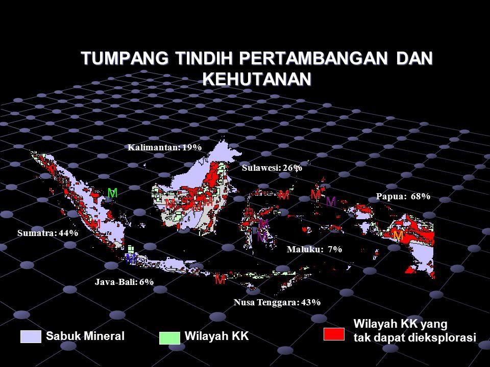 PERTAMBANGAN DALAM SISTEM PEMERINTAHAN NKRI (UUD 1945 & UU 32/2004) BANGSA INDONESIA NEGARA PROVINSI Tanggungjawab pengelolaan lintas Kabupaten dan/atau berdampak regiona Perda KABUPATEN / KOTA Tanggungjawab pengelolaan di Wilayah Kabupaten/Kota Perda PELAKU USAHA o BUMN / BUMD o Badan Usaha Lain PEMERINTAH PEMERINTAH o Penetapan Kebijakan dan Pengaturan o Penetapan Standar dan Pedoman o Penetapan Kriteria pembagian Urusan Pusat dan Daerah o Tanggungjawab pengelolaan minerba berdampak nasional dan lintas provinsi dan lintas provinsi Hak Pengusahaan (Economic Right) Penyelenggaraan Penguasaan Pertambangan (Mining Right) Kepemilikan (Mineral Right) + Desentralisasi + Dekonsentrasi Undang-Undang