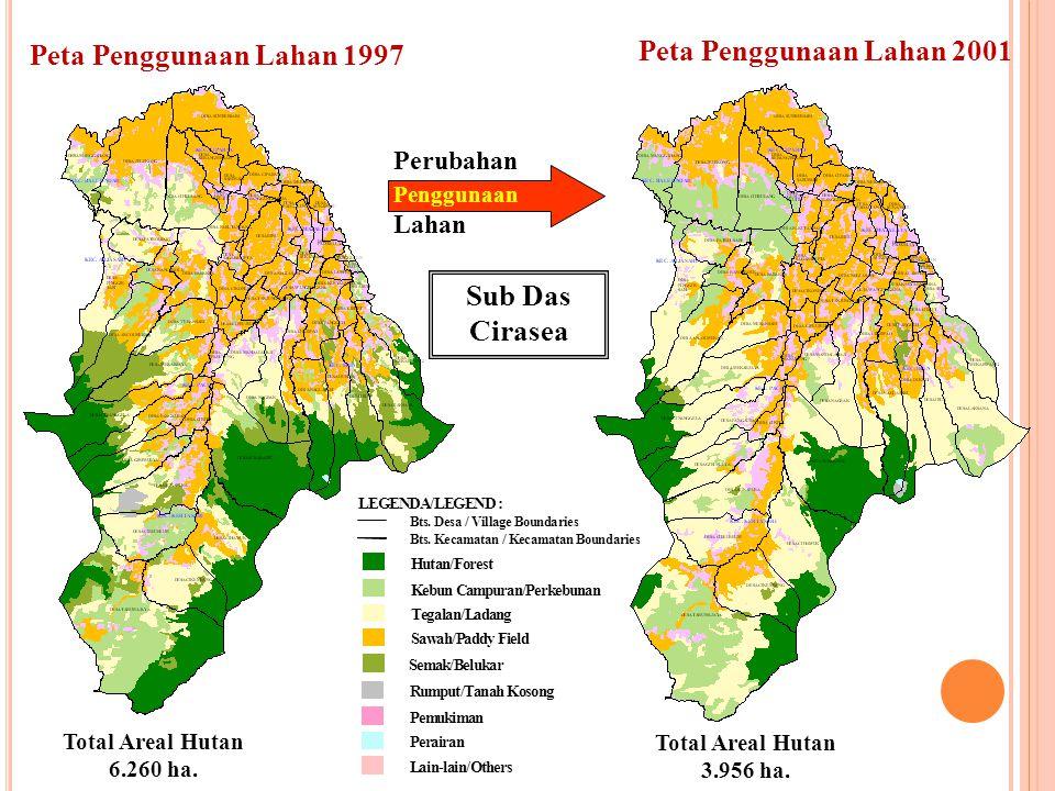 Peta Penggunaan Lahan 1997 Peta Penggunaan Lahan 2001 Perubahan Penggunaan Lahan Sub Das Cirasea Total Areal Hutan 6.260 ha. Total Areal Hutan 3.956 h