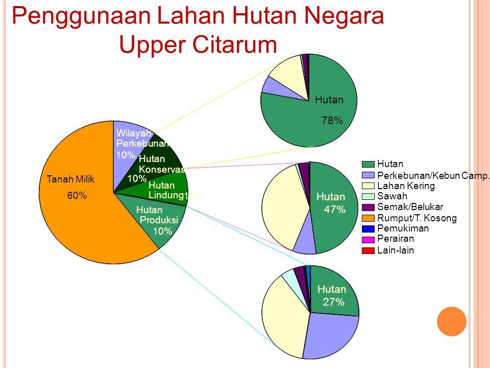 78% Hutan 47% Hutan 27% Hutan Lahan Kering Sawah Semak/Belukar Rumput/T. Kosong Pemukiman Perairan Lain-lain Perkebunan/Kebun Camp. Hutan 10% 60% Tana