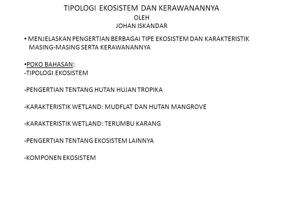 KONSEP EKOSISTEM SUMBER: RAMBO DAN SAJISE (1984) EKOSISTEM:SUATU SISTEM EKOLOGI YANG TERBENTUK OLEH HUBUNGAN TIMBAL-BALIK ANTARA MAHLUK HIDUP DENGAN LINGKUNGANNYA.