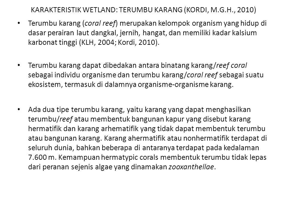 KARAKTERISTIK WETLAND: TERUMBU KARANG (KORDI, M.G.H., 2010) Terumbu karang (coral reef) merupakan kelompok organism yang hidup di dasar perairan laut