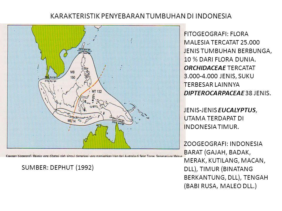 KARAKTERISTIK PENYEBARAN TUMBUHAN DI INDONESIA FITOGEOGRAFI: FLORA MALESIA TERCATAT 25.000 JENIS TUMBUHAN BERBUNGA, 10 % DARI FLORA DUNIA. ORCHIDACEAE