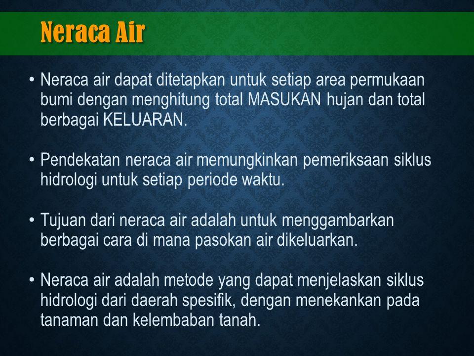 Neraca Air Neraca air dapat ditetapkan untuk setiap area permukaan bumi dengan menghitung total MASUKAN hujan dan total berbagai KELUARAN. Pendekatan