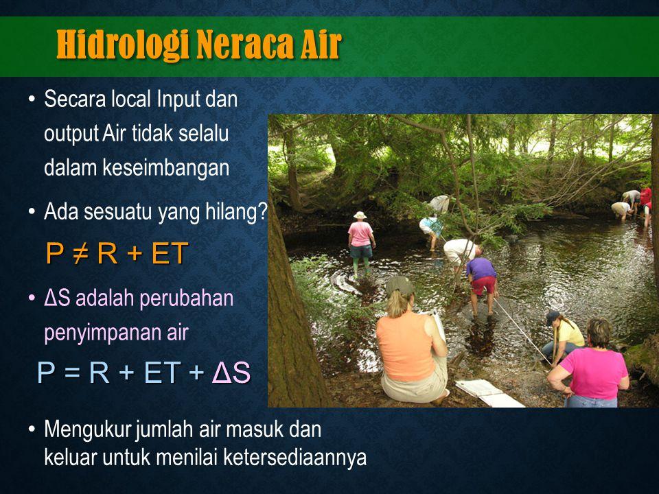 Hidrologi Neraca Air Secara local Input dan output Air tidak selalu dalam keseimbangan Ada sesuatu yang hilang? ΔS adalah perubahan penyimpanan air P