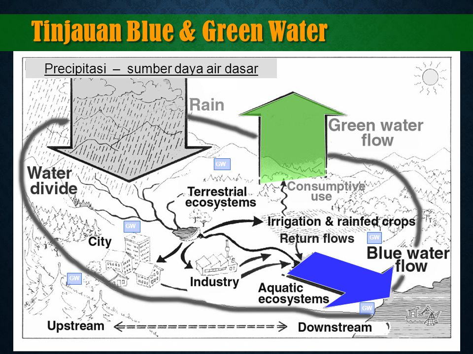 Tinjauan Blue & Green Water Precipitasi – sumber daya air dasar GW Adapted from: GWP (M. Falkenmark), 2003, Water Management and Ecosystems: Living wi