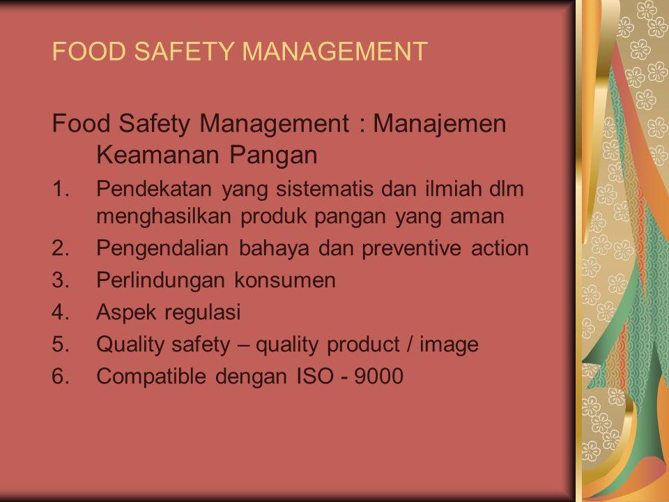 FOOD SAFETY MANAGEMENT Food Safety Management : Manajemen Keamanan Pangan 1.Pendekatan yang sistematis dan ilmiah dlm menghasilkan produk pangan yang