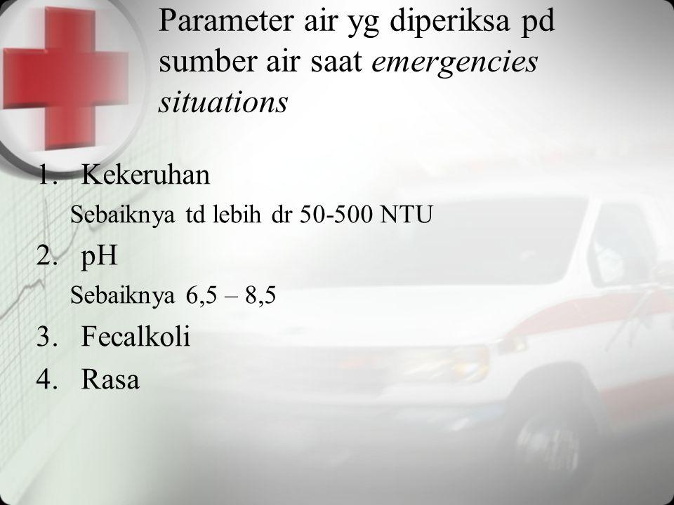 Parameter air yg diperiksa pd sumber air saat emergencies situations 1.Kekeruhan Sebaiknya td lebih dr 50-500 NTU 2.pH Sebaiknya 6,5 – 8,5 3.Fecalkoli