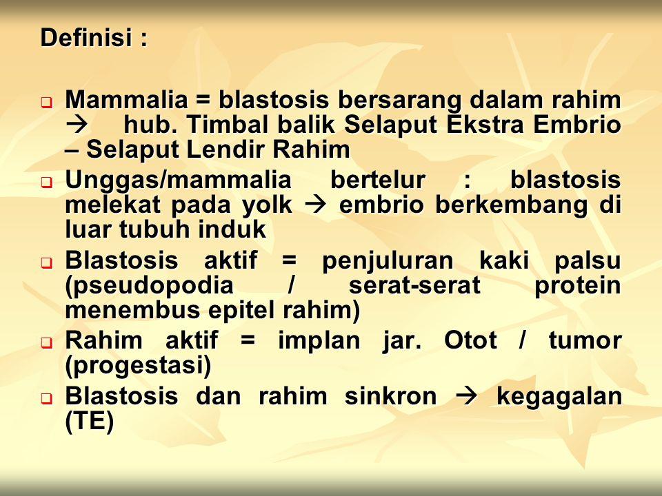 Definisi :  Mammalia = blastosis bersarang dalam rahim  hub. Timbal balik Selaput Ekstra Embrio – Selaput Lendir Rahim  Unggas/mammalia bertelur :