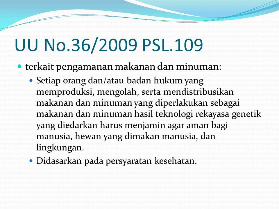 UU No.36/2009 PSL.109 terkait pengamanan makanan dan minuman: Setiap orang dan/atau badan hukum yang memproduksi, mengolah, serta mendistribusikan mak