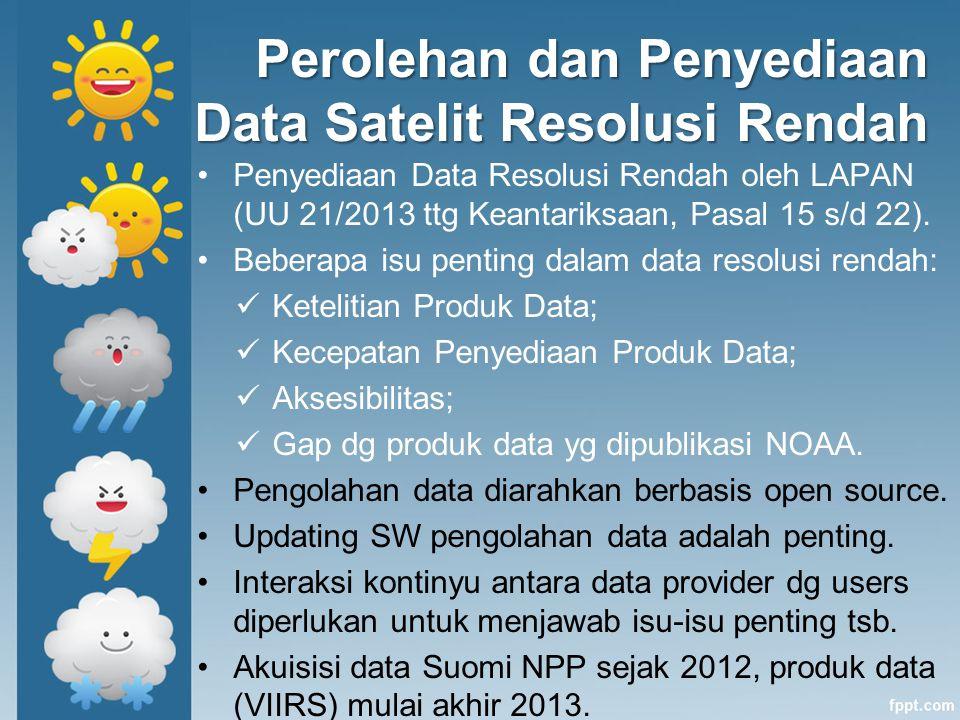Perolehan dan Penyediaan Data Satelit Resolusi Rendah Penyediaan Data Resolusi Rendah oleh LAPAN (UU 21/2013 ttg Keantariksaan, Pasal 15 s/d 22). Bebe
