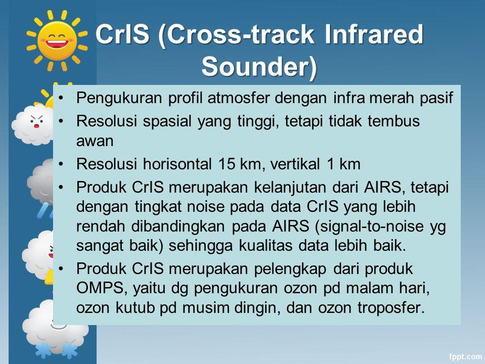 CrIS (Cross-track Infrared Sounder) Pengukuran profil atmosfer dengan infra merah pasif Resolusi spasial yang tinggi, tetapi tidak tembus awan Resolus