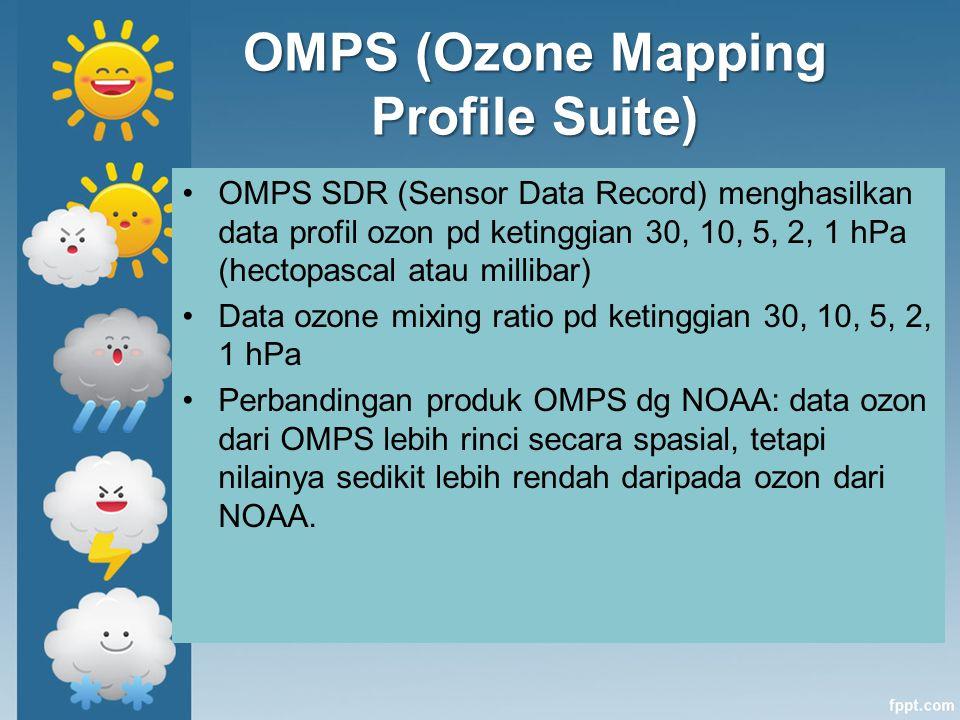 OMPS (Ozone Mapping Profile Suite) OMPS SDR (Sensor Data Record) menghasilkan data profil ozon pd ketinggian 30, 10, 5, 2, 1 hPa (hectopascal atau mil