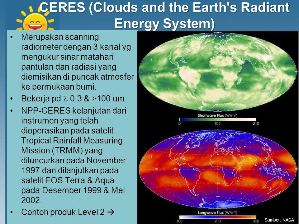 CERES (Clouds and the Earth's Radiant Energy System) Merupakan scanning radiometer dengan 3 kanal yg mengukur sinar matahari pantulan dan radiasi yang