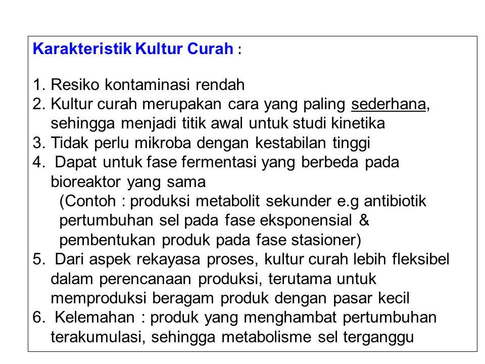 Karakteristik Kultur Curah : 1.Resiko kontaminasi rendah 2.Kultur curah merupakan cara yang paling sederhana, sehingga menjadi titik awal untuk studi kinetika 3.Tidak perlu mikroba dengan kestabilan tinggi 4.