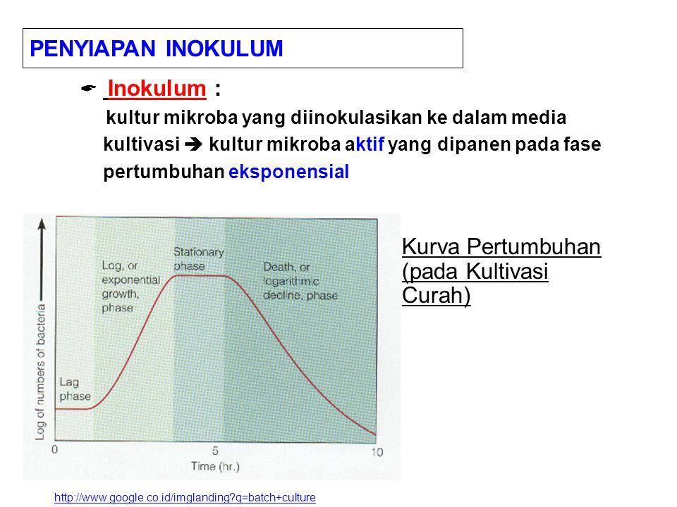  Inokulum : kultur mikroba yang diinokulasikan ke dalam media kultivasi  kultur mikroba aktif yang dipanen pada fase pertumbuhan eksponensial PENYIAPAN INOKULUM http://www.google.co.id/imglanding?q=batch+culture Kurva Pertumbuhan (pada Kultivasi Curah)