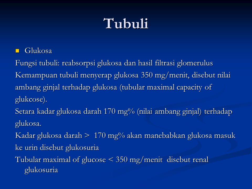 Tubuli Glukosa Glukosa Fungsi tubuli: reabsorpsi glukosa dan hasil filtrasi glomerulus Kemampuan tubuli menyerap glukosa 350 mg/menit, disebut nilai ambang ginjal terhadap glukosa (tubular maximal capacity of glukcose).