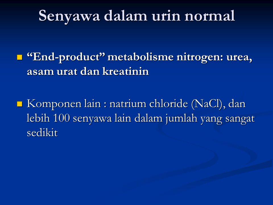 Senyawa dalam urin normal End-product metabolisme nitrogen: urea, asam urat dan kreatinin End-product metabolisme nitrogen: urea, asam urat dan kreatinin Komponen lain : natrium chloride (NaCl), dan lebih 100 senyawa lain dalam jumlah yang sangat sedikit Komponen lain : natrium chloride (NaCl), dan lebih 100 senyawa lain dalam jumlah yang sangat sedikit