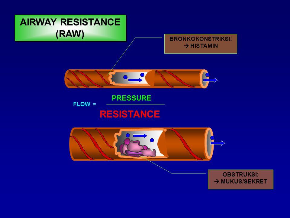 FLOW = PRESSURE RESISTANCE BRONKODILATASI:  EPINEFRIN  AMINOFILIN  BETA 2 AGONIS AIRWAY RESISTANCE (RAW)
