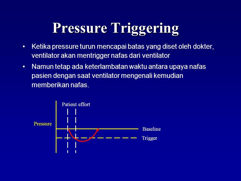 Pressure Triggering Upaya nafas pasien dimulai saat terjadi kontraksi otot diafragma Upaya nafas ini akan menurunkan tekanan (pressure) di dalam sirkuit ventilator (tubing) X X
