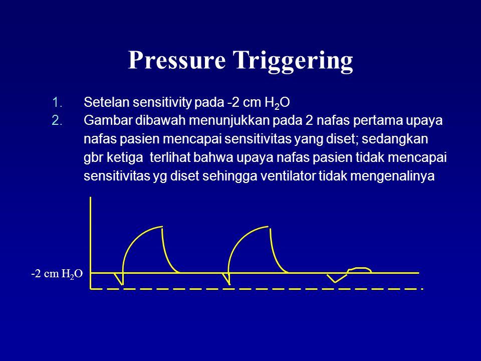 Pressure Triggering Ketika pressure turun mencapai batas yang diset oleh dokter, ventilator akan mentrigger nafas dari ventilator Namun tetap ada keterlambatan waktu antara upaya nafas pasien dengan saat ventilator mengenali kemudian memberikan nafas.