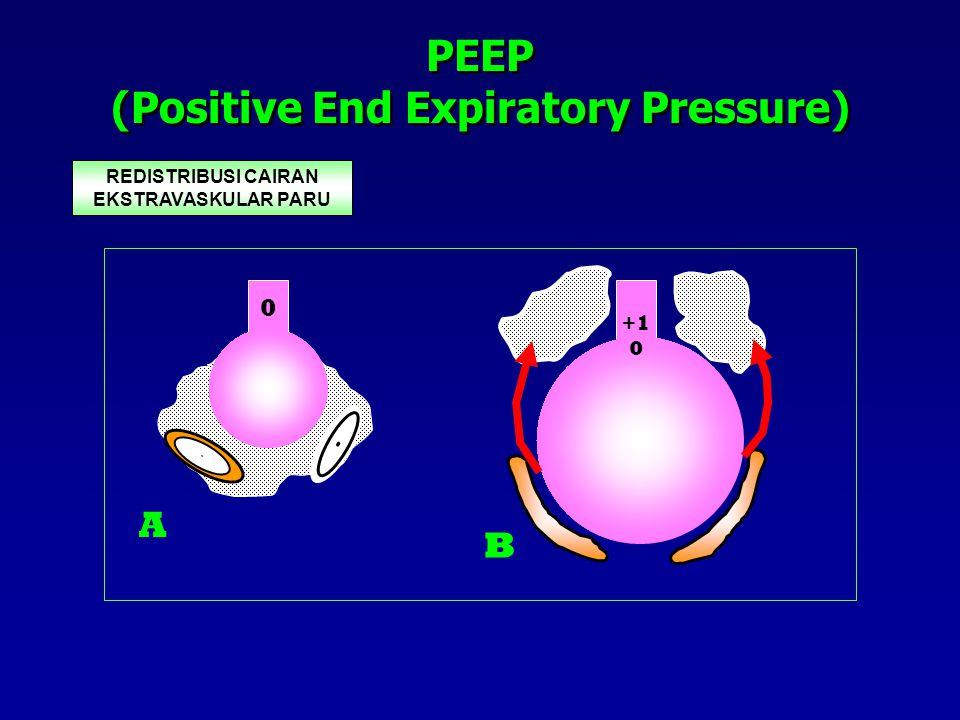PEEP (Positive End Expiratory Pressure) PEEP 5 REDISTRIBUSI CAIRAN EKSTRAVASKULAR PARU MENINGKATKAN VOLUME ALVEOLUS MENGEMBANGKAN ALVEOLI YG KOLAPS (ALVEOLI RECRUITMENT)