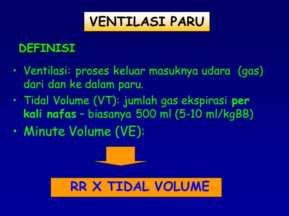 FiO2 : FRAKSI KONSENTRASI OKSIGEN INSPIRASI YG DIBERIKAN (21 – 100%) TIDAL VOLUME (V T ): JUMLAH GAS/UDARA YG DIBERIKAN VENTILATOR SELAMA INSPIRASI DALAM SATUAN ml/cc ATAU liter.