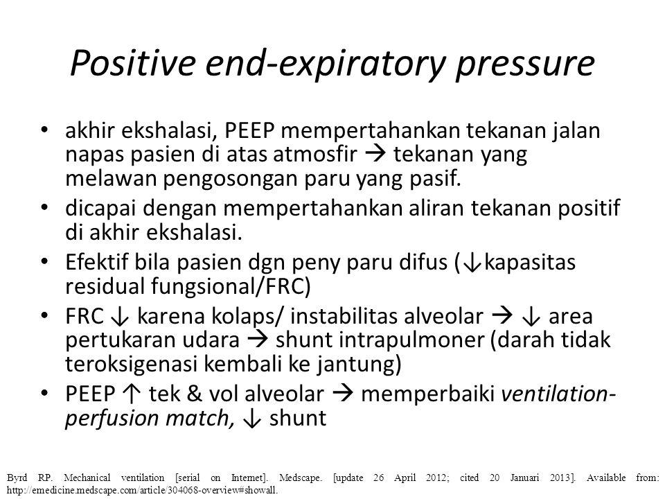 Positive end-expiratory pressure akhir ekshalasi, PEEP mempertahankan tekanan jalan napas pasien di atas atmosfir  tekanan yang melawan pengosongan p