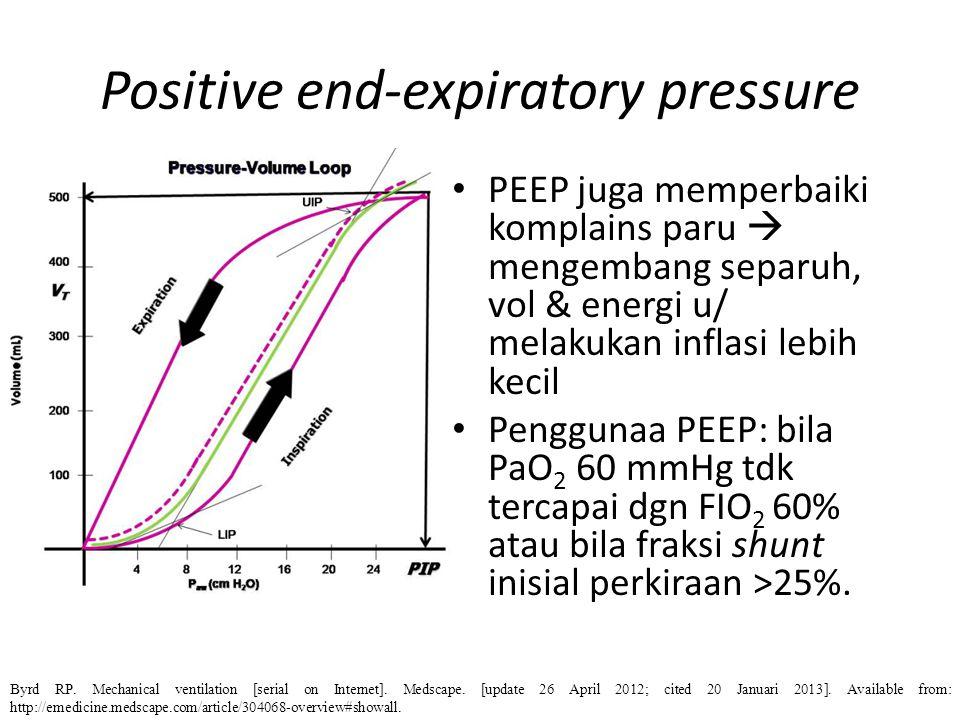 Positive end-expiratory pressure PEEP juga memperbaiki komplains paru  mengembang separuh, vol & energi u/ melakukan inflasi lebih kecil Penggunaa PE