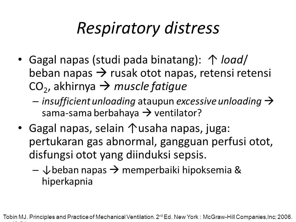 Respiratory distress Gagal napas (studi pada binatang): ↑ load/ beban napas  rusak otot napas, retensi retensi CO 2, akhirnya  muscle fatigue – insu