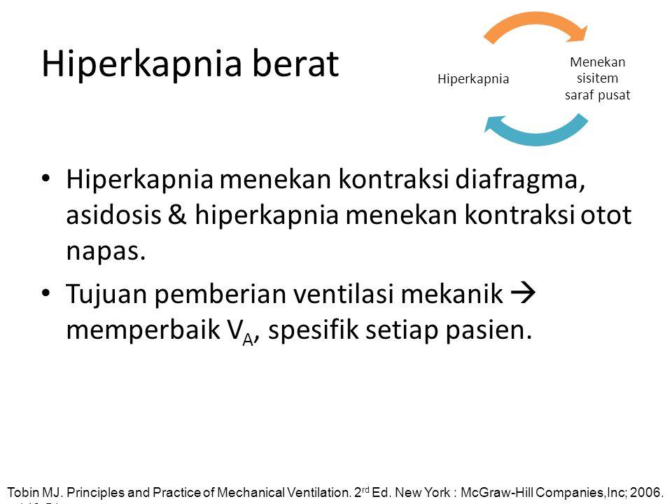 Hiperkapnia berat Hiperkapnia menekan kontraksi diafragma, asidosis & hiperkapnia menekan kontraksi otot napas. Tujuan pemberian ventilasi mekanik  m