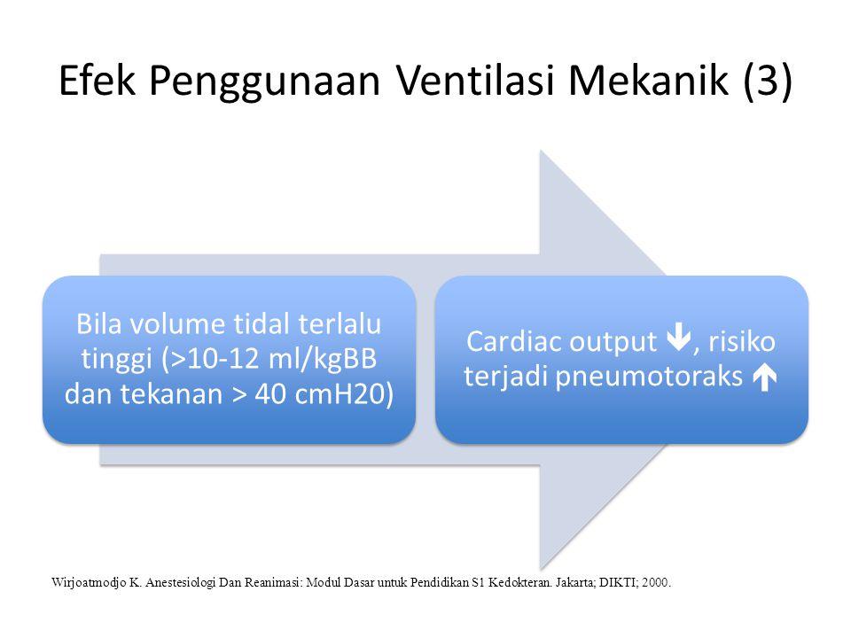 Efek Penggunaan Ventilasi Mekanik (3) Bila volume tidal terlalu tinggi (>10-12 ml/kgBB dan tekanan > 40 cmH20) Cardiac output , risiko terjadi pneumo