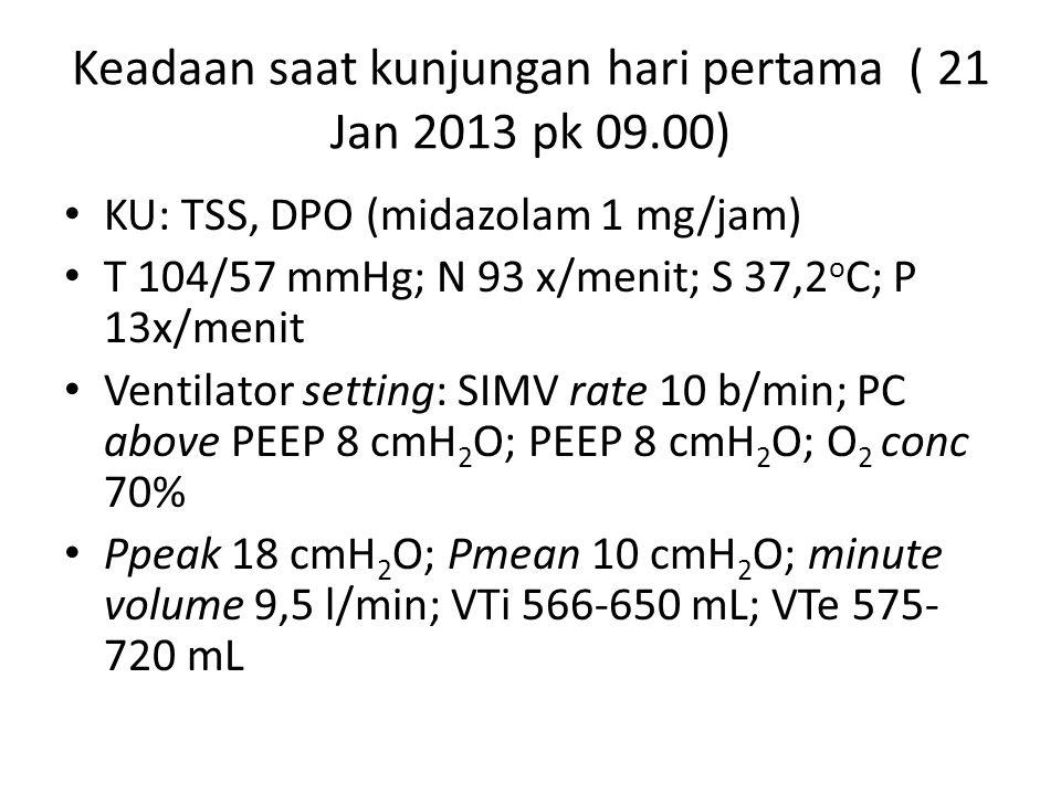 Keadaan saat kunjungan hari pertama ( 21 Jan 2013 pk 09.00) KU: TSS, DPO (midazolam 1 mg/jam) T 104/57 mmHg; N 93 x/menit; S 37,2 o C; P 13x/menit Ven