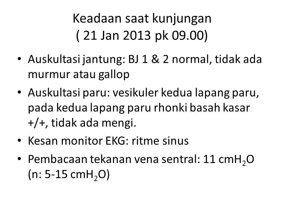 Keadaan saat kunjungan ( 21 Jan 2013 pk 09.00) Auskultasi jantung: BJ 1 & 2 normal, tidak ada murmur atau gallop Auskultasi paru: vesikuler kedua lapa