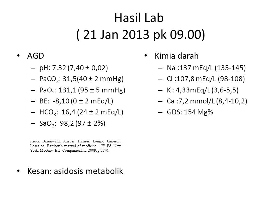 Hasil Lab ( 21 Jan 2013 pk 09.00) AGD – pH: 7,32 (7,40 ± 0,02) – PaCO 2 : 31,5(40 ± 2 mmHg) – PaO 2 : 131,1 (95 ± 5 mmHg) – BE: -8,10 (0 ± 2 mEq/L) –