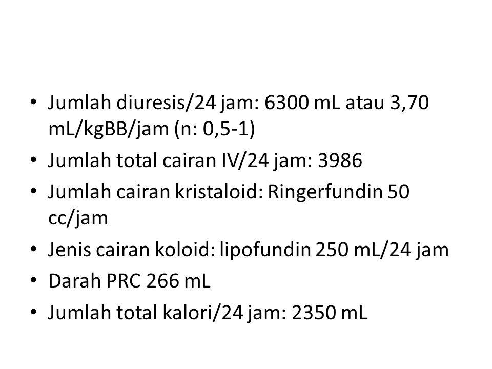 Jumlah diuresis/24 jam: 6300 mL atau 3,70 mL/kgBB/jam (n: 0,5-1) Jumlah total cairan IV/24 jam: 3986 Jumlah cairan kristaloid: Ringerfundin 50 cc/jam