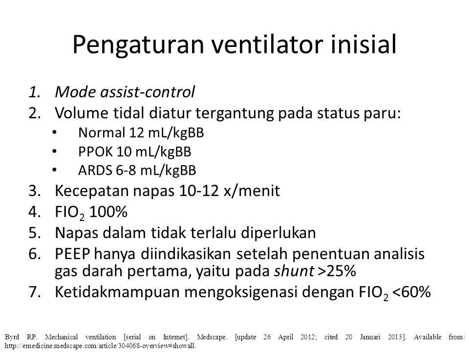 Pengaturan ventilator inisial 1.Mode assist-control 2.Volume tidal diatur tergantung pada status paru: Normal 12 mL/kgBB PPOK 10 mL/kgBB ARDS 6-8 mL/k