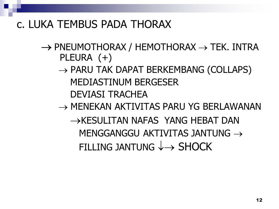 c. LUKA TEMBUS PADA THORAX  PNEUMOTHORAX / HEMOTHORAX  TEK. INTRA PLEURA (+)  PARU TAK DAPAT BERKEMBANG (COLLAPS) MEDIASTINUM BERGESER DEVIASI TRAC