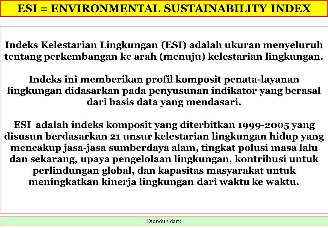 ESI = ENVIRONMENTAL SUSTAINABILITY INDEX Diunduh dari: Indeks Kelestarian Lingkungan (ESI) adalah ukuran menyeluruh tentang perkembangan ke arah (menu